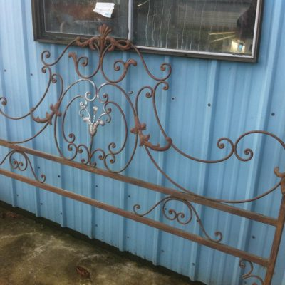 "Wrought iron hand made head board  76"" W 54""H center $200"