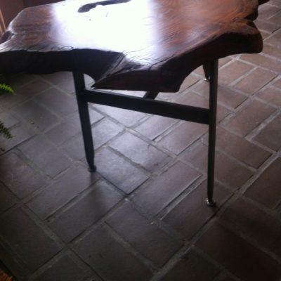 tall table - Fur burl top, maple post, fur base $350